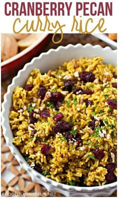 This Cranberry-Pecan Curry Rice is full of Fall flavors and soul-warming curry! Serve it for a weeknight dinner or on Thanksgiving! #HolidayRiceRecipes [ad] @mahatmariceusa