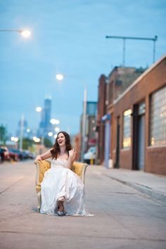 Hideout_Chicago_Wedding_Studio_Starling. Bride having a good time in the street!  Photography: http://www.studiostarling.com/
