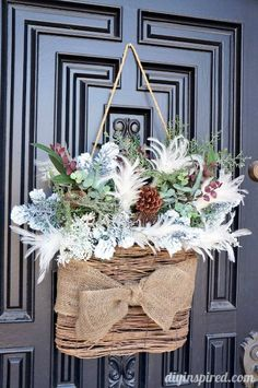 "Winter ""Wreath"" for After Christmas DIY ~ Front Door Decor. Winter Home Decor, Winter House, Winter Porch, Winter Craft, After Christmas, Noel Christmas, Cottage Christmas, Outdoor Christmas, Rustic Christmas Crafts"