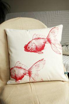 Red koi screen-printed pillow.