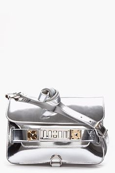 f31929bcda amazingly refreshing shape and color - Proenza Schouler Silver Patent Ps11  Mini Classic Best Handbags
