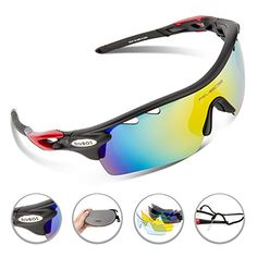 eb4bb31167 RIVBOS Polarized Sports Sunglasses Sun Glasses with 5 Interchangeable Lenses  for Men Women Baseball Cycling Runing Black Ice Blue Lens)
