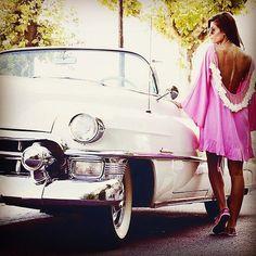 Sundress, collection hippy, beachwear, summer, Alaia Basic short dress model, Light Pink/White, open back, pompons/tassels