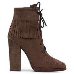 Encircled with a row of suede fringing, these  heeled ankle boots will bring texture and movement to every look. The laces climbing the front of each foot create a sleek, sophisticated appearance.