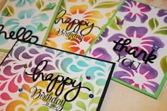 cardmaking video tutorial: Making multiple cards using Distress Ink and stencils