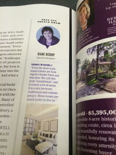 Our designer, Diane Bishop talking trends in this month's issue! #DesignHomePHL