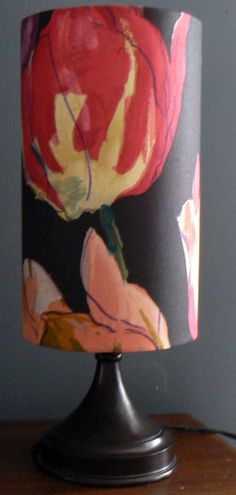 Watercolor Tulips Accent Lamp Vintage Texoprint by LiteandShadow, $65.00