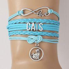 Drop Shipping Infinity Love CATS Bracelet & Bangles Creative Cat Pendant Bracelet Customized Bracelet Braided Bracelet For Lover(China (Mainland))