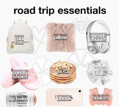 Travel Packing Checklist, Packing List For Vacation, Road Trip Packing, Road Trip Hacks, Airplane Essentials, Travel Bag Essentials, Road Trip Essentials, Life Hacks For School, Girl Life Hacks