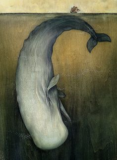 Moby-Dick or The Great Whale (illustration: Lisel Jane Ashlock) Art And Illustration, Art Illustrations, Moby Dick, Great Whale, Big Whale, White Whale, Whale Art, Whale Song, Art Plastique