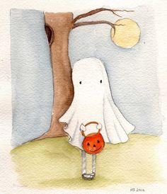 Boo Original Watercolor Illustration by RoseHillDesignStudio, $28.00