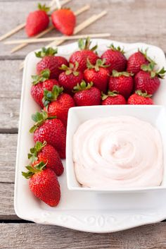 Strawberry Dip  8 oz strawberry cream cheese, at room temperature  7 oz marshmallow creme  Store up in refrigerator up to three days, stir again before serving.