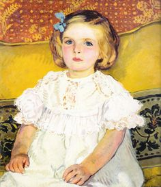 """Portrait of a Girl"" by Józef Mehoffer (Polish,1869-1946), oil on canvas, Muzeum Częstochowskie."