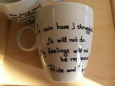 Mug with Mr Darcy's proposal from Pride and Prejudice from litsakiv on Etsy. Saved to Things I want as gifts. Mr Darcy, Pride And Prejudice, Proposal, Mugs, Feelings, Handmade Gifts, Quote, Etsy, Kid Craft Gifts