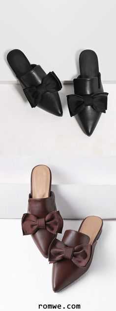 Point Toe Bow Detail Slip On Flats