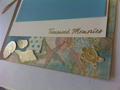 I heat embossed in gold the shells from CTMH stamp set Treasured Friendship ‪#‎C1594‬ then cut them out and used them as embellys.