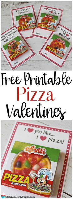 Free printable Pizza Valentines will be the hit of the party. These printable Valentines are made with gummy pizza candy and are adorable for boys or girls!