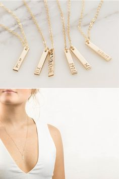 Personalized Dainty Vertical Bar Necklace in 14k gold filled, sterling silver, or 14k rose gold fill. The Tiny, Delicate Tags are lovingly