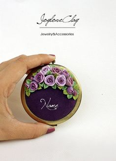 Pink rose Personalized Compact Mirror Beautiful by Joyloveclay