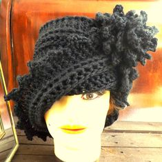 Handmade Crochet LAUREN Cloche Hat in Black #CIJ Christmas in July 10%off #sale $36.00 by Strawberry Couture