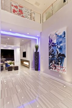 Modern Dream House Design With Led Light Futuristic Interior, Hurtado Residence By Mark Tracy. Use RGB Led Strip Light by Lumilum to obtain the purple light effect Dream Home Design, Home Interior Design, Modern Interior, My Dream Home, Interior Architecture, Interior And Exterior, House Design, Modern Luxury, Interior Paint