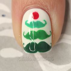 """Stache-ing through the snooooow =P Inspired by @cutepolish.  Products used: White: """"Soft Serve"""" @iscreamnails Details: acrylic paint Dotting tool and brush: @whatsupnails Top coat: HK girl @glitstenandglow1 - Song: """"Feliz Navidad"""" Jose Feliciano"""