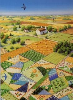 Rebecca Barker's Quiltscapes ~ I've always thought farm fields looked like quilts.