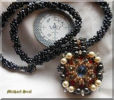 Archangel Michael Seal * Double Sided * Beaded Pendant * Ceremonial Magic * Necklace * Hematite * Sigil * Protection