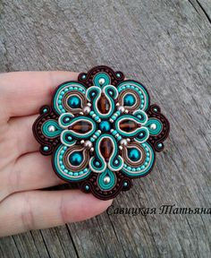 Elegant Turquoise and Brown Soutache Brooch-Hand Embroidered Soutache Jewelry-Turquoise and Brown Soutache-Soutache Brooch-Statement Jewelry