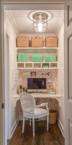 This East Memphis Dream Home is the Epitome of Smart Design Sarah Spinosa office closet Small Office Storage, Small Bedroom Storage, Small Space Storage, Smart Storage, Diy Organisation, Small Closet Organization, Bedroom Organization, Storage Organization, Organizing