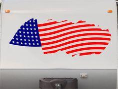 USA Flag Camper Decals - Motorhome Stripe Kit - RV Stickers - Trailer Stickers- Sticker Graphic- Motorhome Decals- RV Stripe Kit- US04