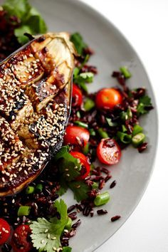 Miso Baked Eggplant with Black Rice Salad
