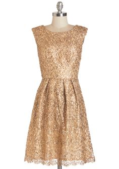 Fun One Like You Dress in Gold. Tonight, youre pairing the delicate lace and dazzling sequins of this gilded dress with your biggest smile and your best dance moves! #gold #prom #modcloth