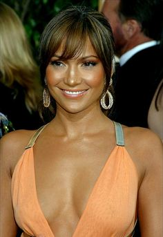 Jennifer Lopez love her bangs and glowing makeup