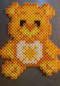 Yellow Care Bear hama perler beads by Sonja Ahacarne