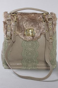 Faux fur tote bag with crocheted embellishments