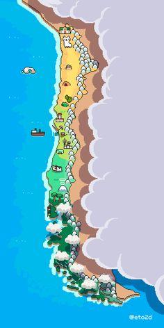 Pixel art of Chile. Game Design, Creepypasta Anime, Arte 8 Bits, Pixel Animation, 8 Bit Art, Pixel Art Games, Map Art, Art Tutorials, Art Inspo