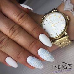 Wedding nails by Indigo Educator Anna Lesniewska #nails #nail #nailsart #indigonails #indigo #hotnails #whitenails #weddingnails #weddingidea #wedding #white