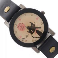 Reloj negro con esfera en tonos pastel y borde negro. Con dibujo de un gato echándote de menos en su esfera. Disponible en la tienda www.zen-kat.com