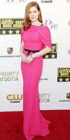 Amy Adams in bright pink Roland Mouret