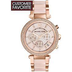 Michael Kors Women's Chronograph Parker Blush and Rose Gold-Tone... (445 745 LBP) ❤ liked on Polyvore featuring jewelry, watches, no color, chronograph wrist watch, stainless steel jewelry, rose gold tone watches, michael kors watches and watch charm bracelet