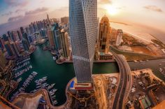 Shot from the 45th floor of the Marriott Harbour Hotel in the Dubai Marina. Great Photography