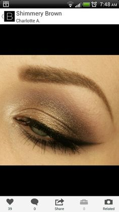 Golden Brown shimmer eyeshadow look