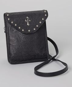 I Love Accessories Black Cross Studded Leather Crossbody Bag by I Love Accessories #zulily #zulilyfinds
