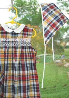 Vintage Plaid Girls Dress with Kerchief    (from the 60s)    Adorable dress with matching head scarf. Red, yellow/gold white and black cotton plaid