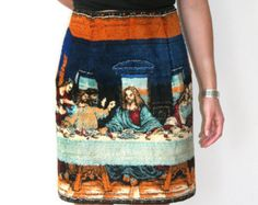 Last Supper Tapestry Skirt / Pencil Skirt With Exposed Zipper Sz XS S