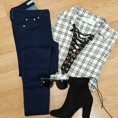 You know, just Killin the casual #ootd with this plaid lace up top