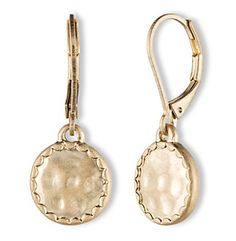 Lonna & Lilly Worn Goldtone Leverback Hammered Disc Drop Earrings