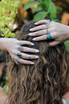#Sterling #Silver #Natural #Turquoise #Ring #Hand by DonBiuBali on #Etsy #hair #hippy #boho