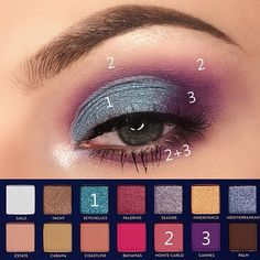 Another riviera palette pictorial 💜💙 . Products used: e y e s : riviera palette (monte carlo, cannes, seychelles) … Witch Makeup, Makeup Geek, Makeup Inspo, Eyeshadow Makeup, Makeup Inspiration, Makeup Ideas, Skull Makeup, Makeup Art, Cat Makeup
